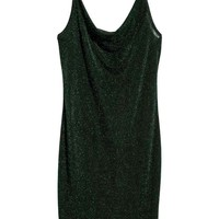Fitted dress - Green/Glittery - Ladies | H&M GB