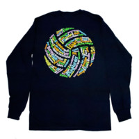 Lucky Dog Volleyball :: Volleyball Words Long Sleeve Tee Shirt11.128.B40.2X