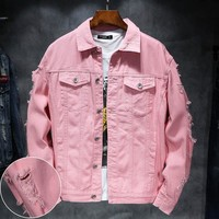Trendy YuWaiJiaRen Denim Jacket Men Ripped Holes Mens Pink Jean Jackets New 2018 Garment Washed Mens Denim Coat AT_94_13