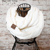 CC Cable Knit Infinity Scarf - Ivory