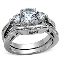 Women's Stainless Steel 316 Round 2.5 Ct Zirconia Engagement Wedding Ring Set Size 5-10 = 1932505732