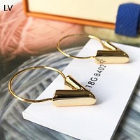 LV Louis Vuitton High quality new fashion circle  v letter personality long earring women Golden