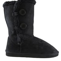 sn02 Womens Button Shearling Boots Black