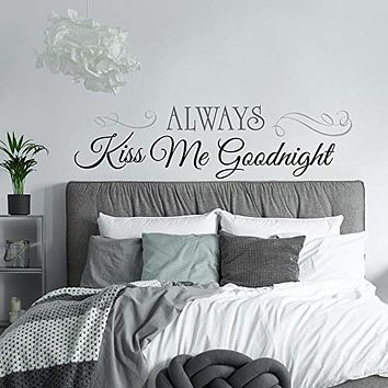 RoomMates Always Kiss Me Goodnight Quote Peel and Stick Wall Decals , 10 Inch x 18 Inch - RMK2084SCS,Black