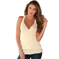 NEW Fashion 2016 Women Backless Tank Top V-neck Halter Camis Crochet Lace Tops Sexy Women Clubwear