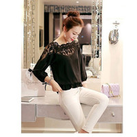 SIMPLE - Loose Lace Quarter Sleeve Women Shirt Top b5410