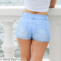 Light Denim 3 Button Shorts