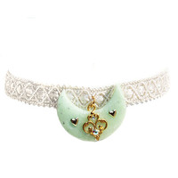 Mint Crescent Moon Lace Choker