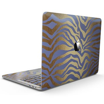 Gold Flaked Animal Blue Zebra - MacBook Pro with Touch Bar Skin Kit
