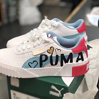 Puma Cali Lettering Love Graffiti Valentine's Day Thick Shock Absorbent Sponge Sneakers Shoes