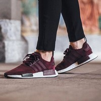 Sale Adidas NMD R1 Suede Maroon S75231 Boost Sport Running Shoes Classic Casual Shoes Sneakers