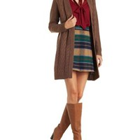 Rose Taupe Open Front Cable Knit Cardigan Sweater by Charlotte Russe