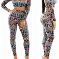 Printed Long Sleeve Bodycon Cropped Top Pants Set