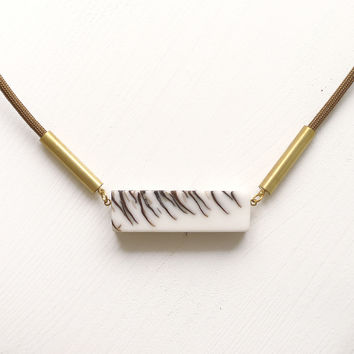 Frosted Strobili long necklace, brown cord SPECIAL