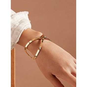 1pc Metallic Cross Design Cuff Bracelet