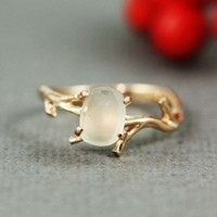 Pink Gold Rough Green Amethyst Ring