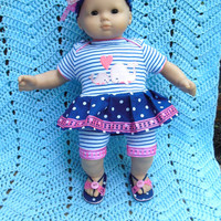 BITTY BABY GIRL Whale of a Tale - 2 (15 inch) doll outfit/ clothes with dress, shorts/leggings, sandals, and headband/hairclip