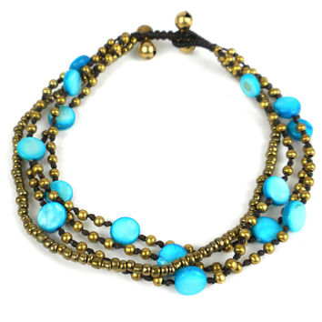 Many Moons Anklet: Turquoise - Thailand