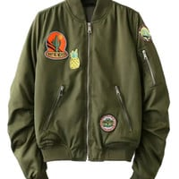 Oliver Green Pineapple Patches Cropped Bomber Jacket