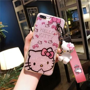 For iPhone 8 8plus Kitty Case, bling Hello Kitty Cover for iPhone 5 5S 6 6S 6SPlus 7 7plus X phone cover + toy stander +Strap