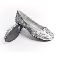 Qupid Women's Ballet Flats Ballerina Shoes Loafers, Silver Glitter Leatherette