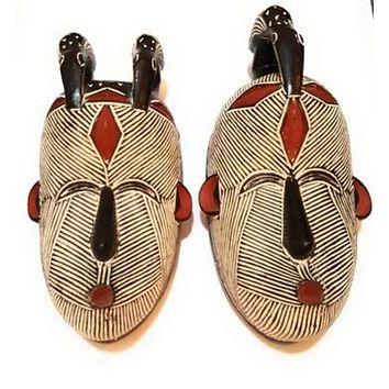 """🎁 ONE DAY SALE 12"""" - 14"""" Male and Female Set of 2 African Congo Songi Songe Songye Kwifibe Wood Masks: Black and White"""