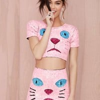 DI$COUNT TRA$H Pink Kitty Sequin Skirt