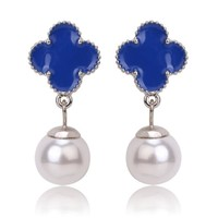 Beady Cleef Single Clover with Pearl - Silver & Blue