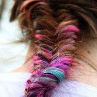 Lauren Conrad Ombre Colored Tips- DIY Fishtail -20 Itip or Utip - Prebonded Extensions/Dip Dyed PASTEL - Free People - Fishtail Braids