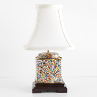 Small Square Multicolor Floral Vintage Caddy Lamp