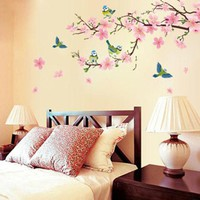 MDIGGB2 Cherry blossom room bedroom home decorative vinyl stickers Art DIY transparent removable wall stickers posters wallpaper