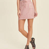 Lace-Up Faux Suede Skirt