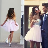 FASHION SEQUINED BOWKNOT DRESS