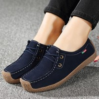 Women's Flats Summer Leather Loafers Casual Shoes Lady Driving Flat  Moccasins Lace Up Round Toe Chaussure Femme Size 35-42