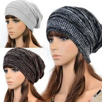 Hot Fashion Women Ladies Unisex Winter Knit Plicate Slouch Cap Hat Knitted Skullies Beanies Casual Ski 3 colors = 1958214084