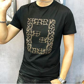 Fendi New fashion leopard letter print couple top t-shirt Black