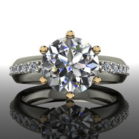 Forever Brilliant Moissanite and Diamond Engagement Ring 2.24 CTW