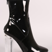 Liliana Lucite Chunky Heeled Ankle Boots