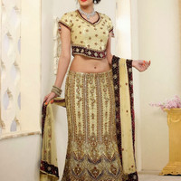 Exquisite Fish Cut Beige and Maroon Indian Bridal Lehenga Choli