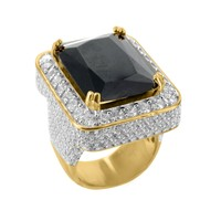 14k Gold Tone Black Onyx Gemstone Sterling Silver CZ Mens Ring