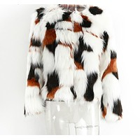 HAILE Women's Elegant Fluffy Faux Fur coat