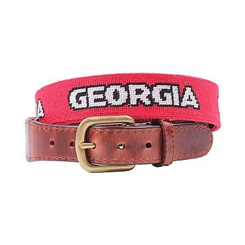 University of Georgia Text Needlepoint Belt in Red by Smathers & Branson