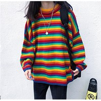 Rainbow Knitted Oversized Sweater