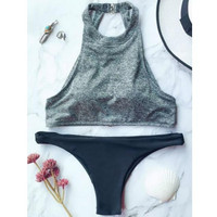 Fashion new high neck bottom black two piece bikini