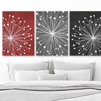 Red Gray Black Bedroom Wall Decor, Watercolor DANDELION Wall Art Canvas or Prints Gray Red Black Bathroom Decor, Dandelion Decor Set of 3