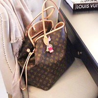 LV Louis Vuitton Women Shopping Bag Leather Handbag Tote Shoulder Bag Purse Wallet Two Piece A Set