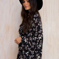 Forest Serenade Flared Sleeve Playsuit