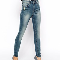 ASOS Ridley High Waist Ultra Skinny Jeans in Camden Light Wash