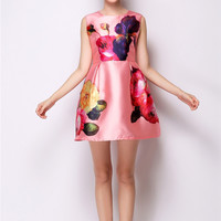 Pink Floral Sleeveless High Waist A-Line Mini Dress
