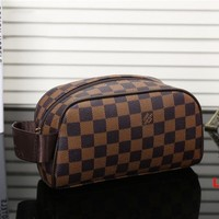 LV Women Fashion makeup bag  Cosmetic bag Zipper Satchel B-YJBD-2 Coffee Tartan